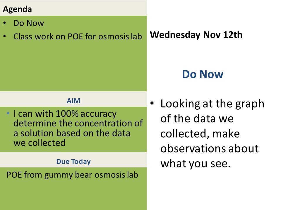 Agenda Do Now Class work on POE for osmosis lab Wednesday Nov 12th Looking at the graph of the data we collected, make observations about what you see.