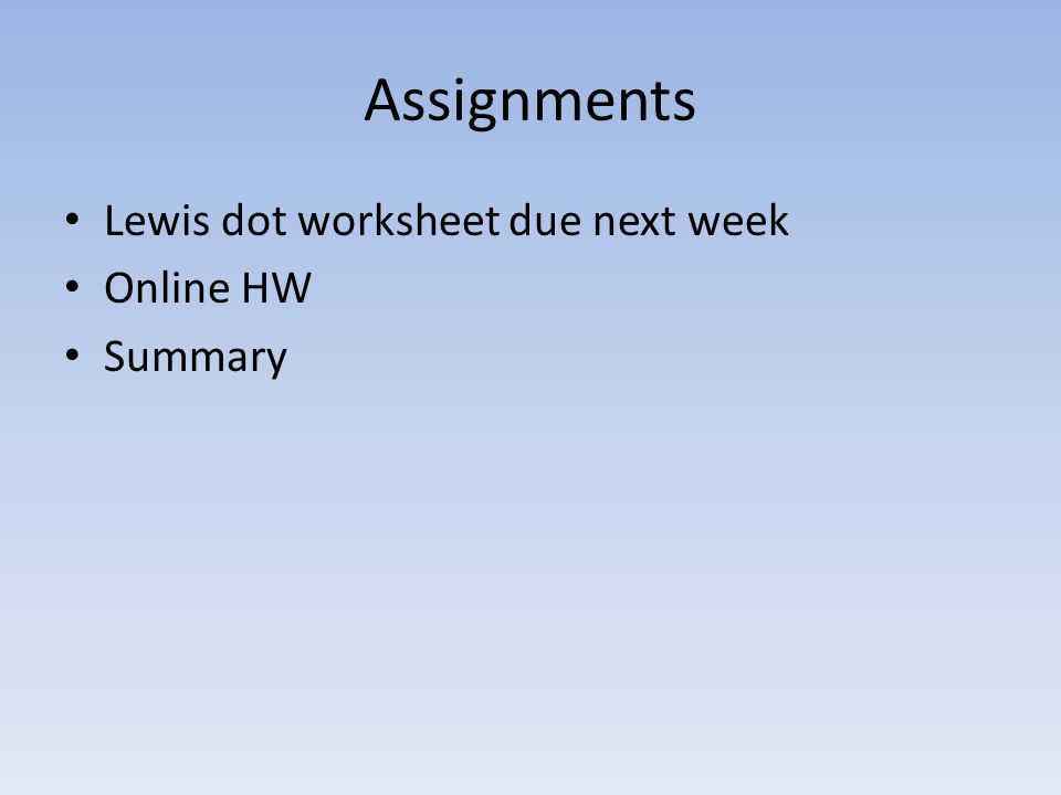 Assignments Lewis dot worksheet due next week Online HW Summary