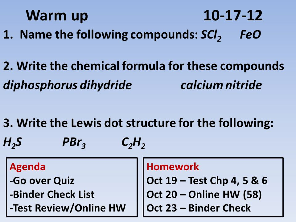 Warm up10-17-12 1.Name the following compounds: SCl 2 FeO 2.