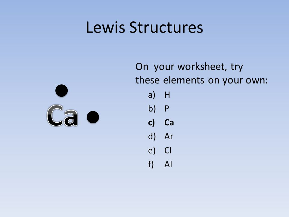 Lewis Structures On your worksheet, try these elements on your own: a)H b)P c)Ca d)Ar e)Cl f)Al