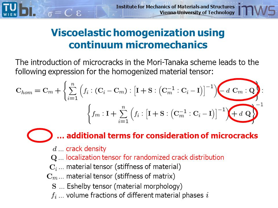 Institute for Mechanics of Materials and Structures Vienna University of Technology Viscoelastic homogenization using continuum micromechanics The int