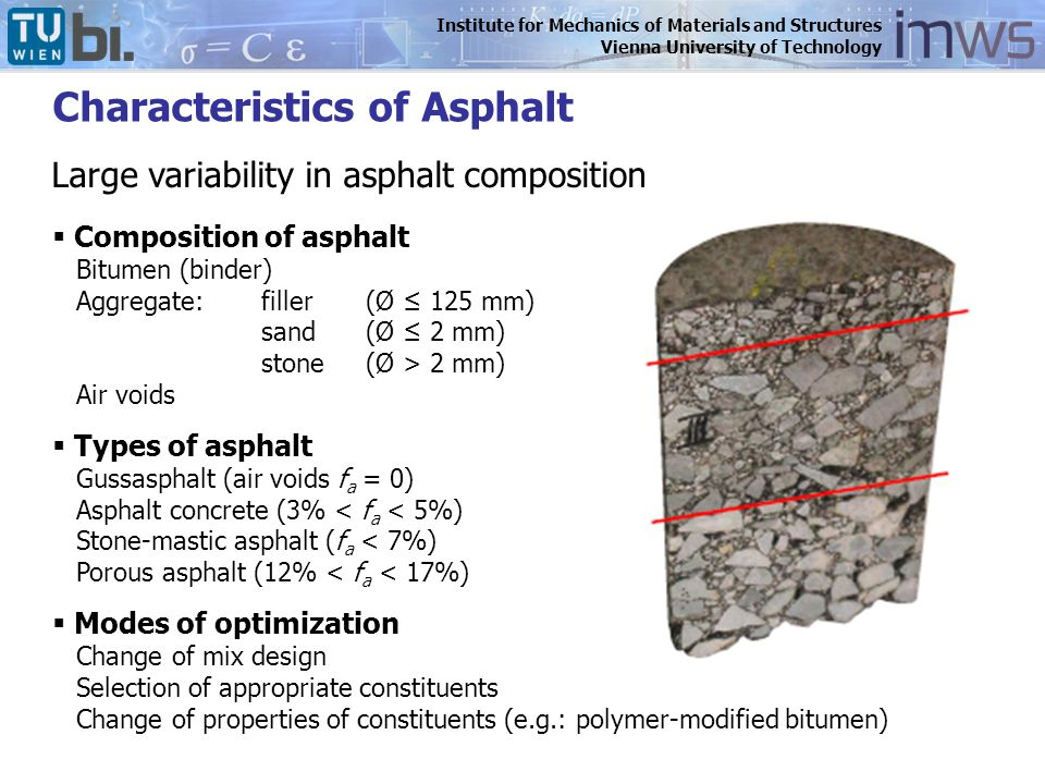 Institute for Mechanics of Materials and Structures Vienna University of Technology  Composition of asphalt Bitumen (binder) Aggregate:filler(Ø ≤ 125