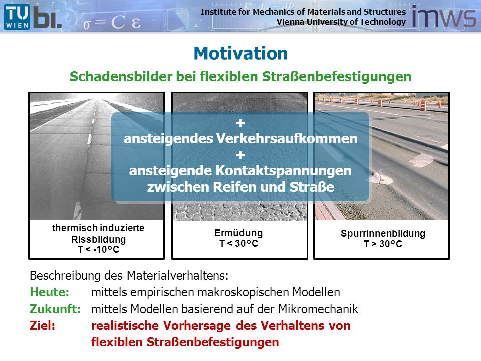 Institute for Mechanics of Materials and Structures Vienna University of Technology Motivation thermisch induzierte Rissbildung T < -10°C Ermüdung T <