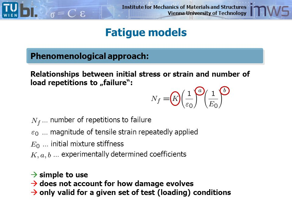 Institute for Mechanics of Materials and Structures Vienna University of Technology Influence of stress amplitude on fatigue performance of asphalt increasing stress amplitude increasing crack density Sensitivity Study