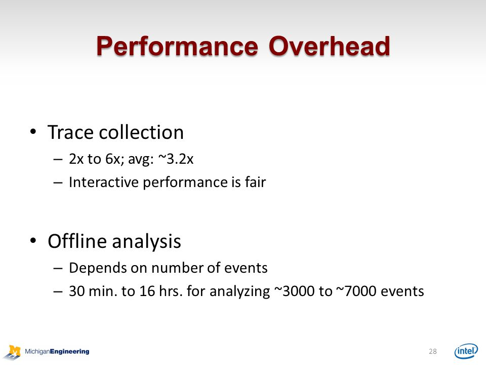 Performance Overhead 28 Trace collection – 2x to 6x; avg: ~3.2x – Interactive performance is fair Offline analysis – Depends on number of events – 30 min.