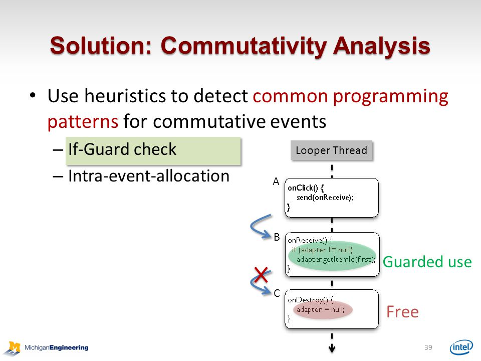 Use heuristics to detect common programming patterns for commutative events – If-Guard check – Intra-event-allocation Solution: Commutativity Analysis 39 Free A B C Looper Thread Guarded use
