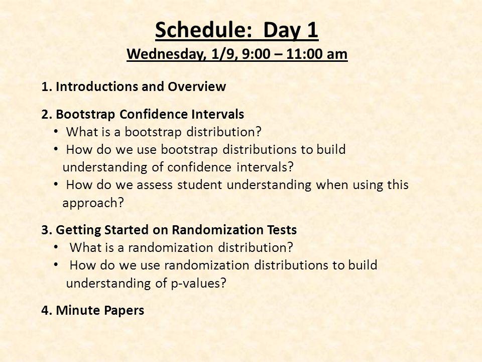 Schedule: Day 1 Wednesday, 1/9, 9:00 – 11:00 am 1.