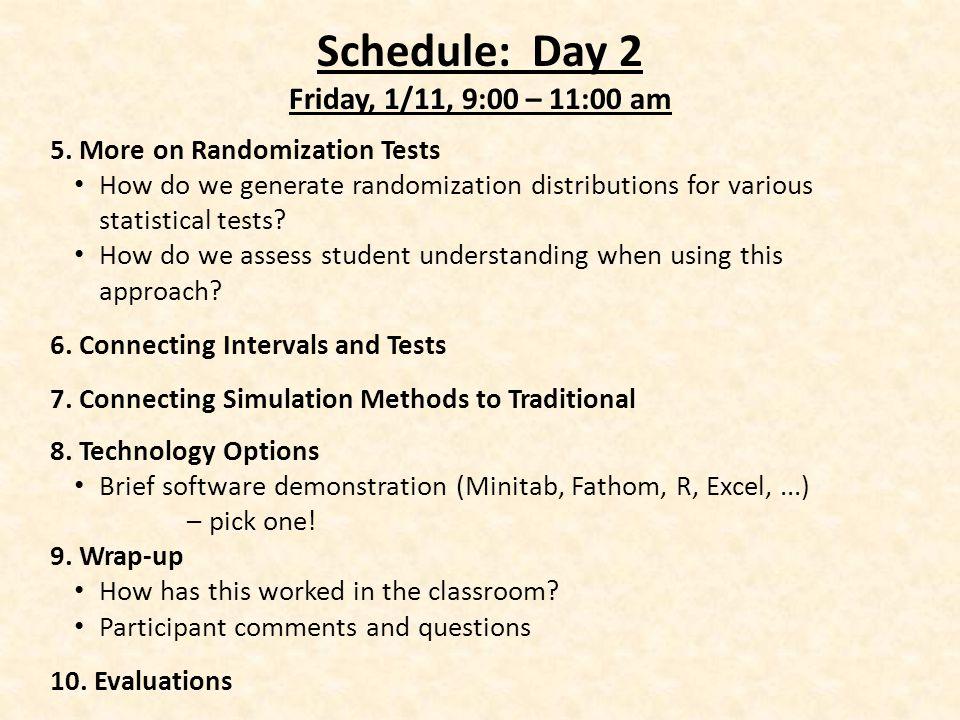 Schedule: Day 2 Friday, 1/11, 9:00 – 11:00 am 5.