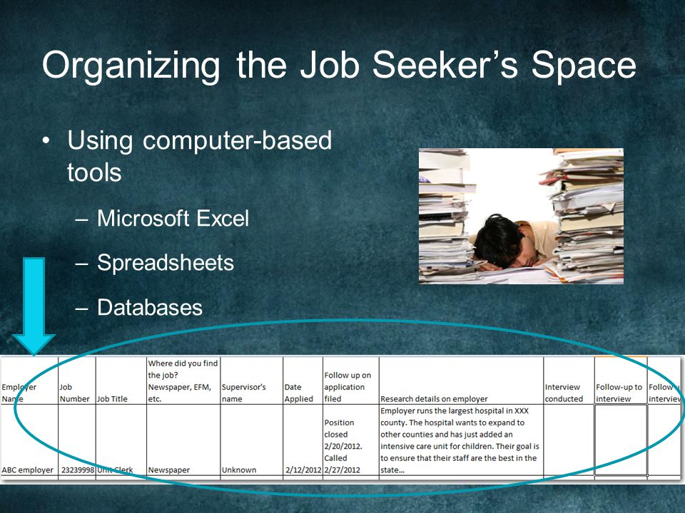 Organizing the Job Seeker's Space Using computer-based tools –Microsoft Excel –Spreadsheets –Databases