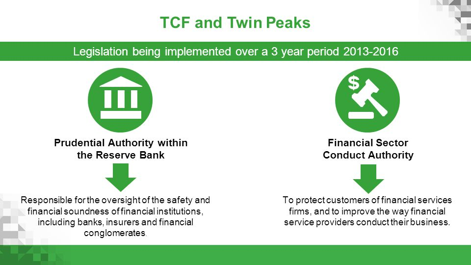 TCF and Twin Peaks Legislation being implemented over a 3 year period 2013-2016 Responsible for the oversight of the safety and financial soundness of