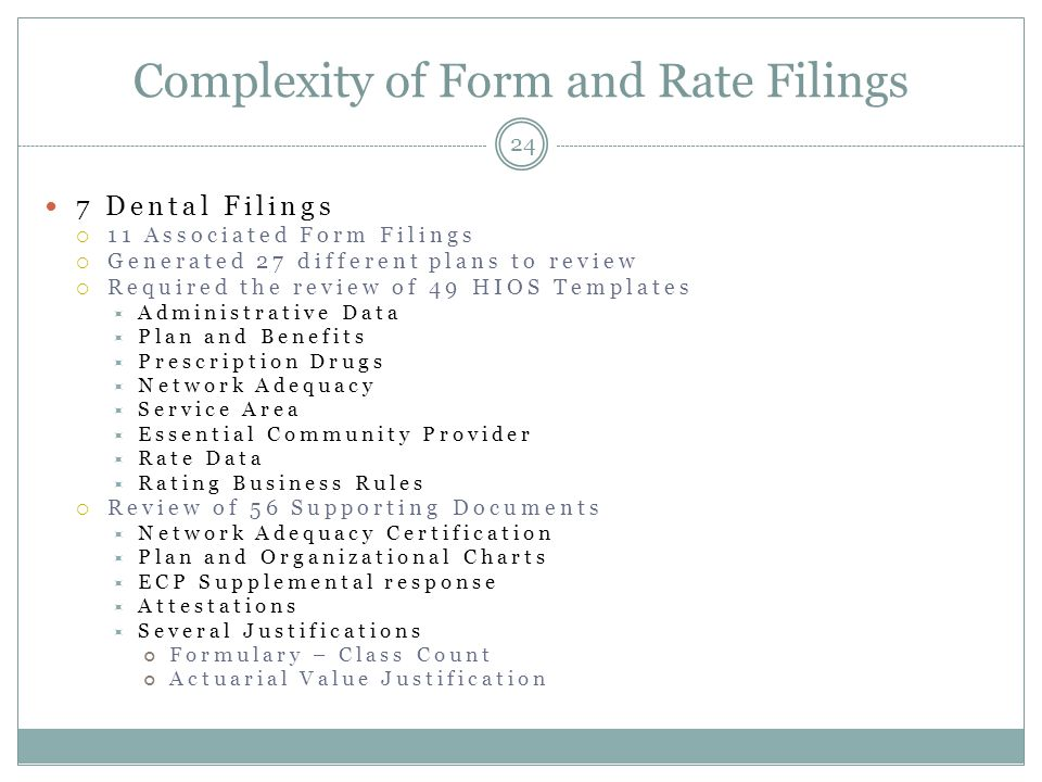 Complexity of Form and Rate Filings 24 7 Dental Filings  11 Associated Form Filings  Generated 27 different plans to review  Required the review of