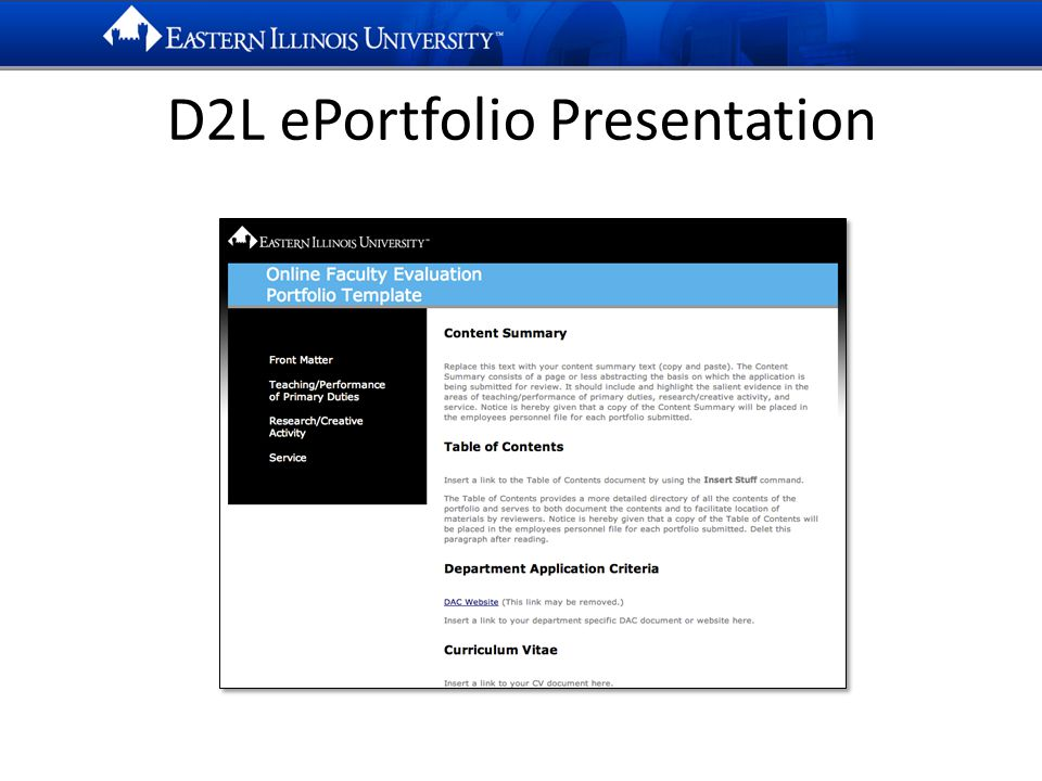 D2L ePortfolio Presentation