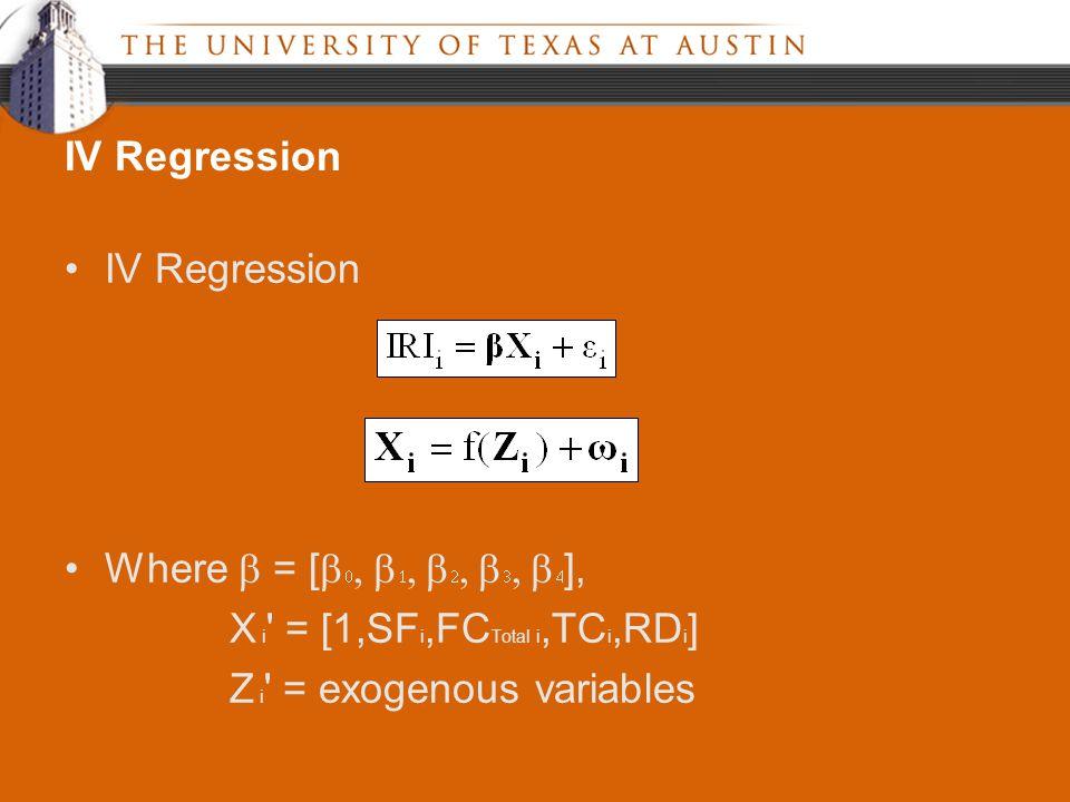 IV Regression Where  = [           ], X i = [1,SF i,FC Total i,TC i,RD i ] Z i = exogenous variables IV Regression