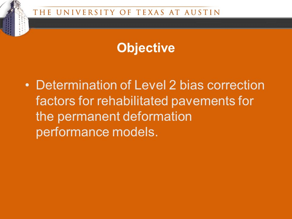 Objective Determination of Level 2 bias correction factors for rehabilitated pavements for the permanent deformation performance models.