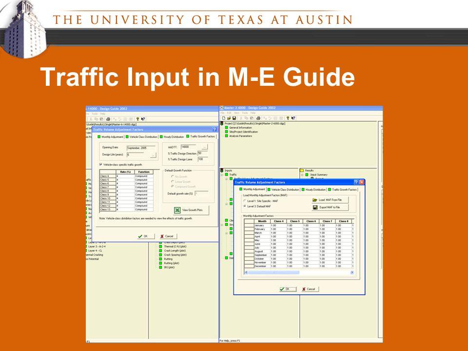 Traffic Input in M-E Guide