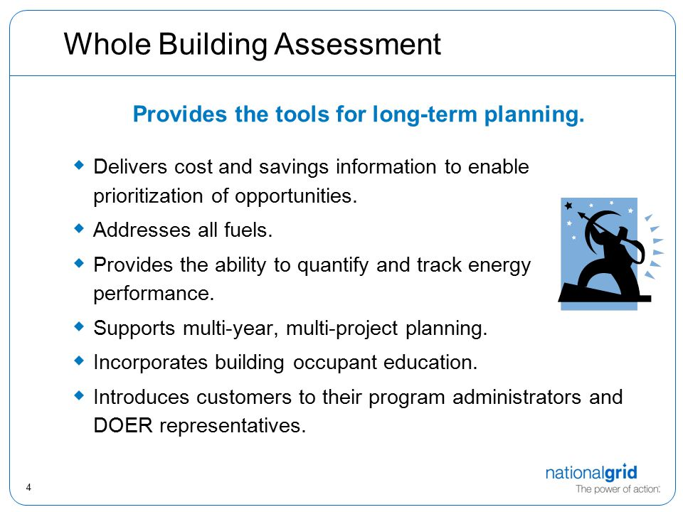 5 The Four-Step Process STEP 1STEP 2Step 3Step 4 Qualify Customer Conduct Audits Action Plan Meeting Implementation & Education Initial meeting Letter of Intent Questionnaire Data Release Benchmarking Check energy intensity Lighting – turnkey Service Mechanical – all fuels Other systems as appropriate Internal technical review.