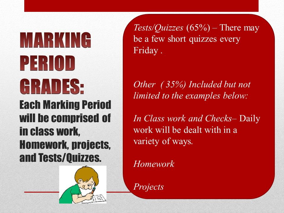 Tests/Quizzes (65%) – There may be a few short quizzes every Friday.