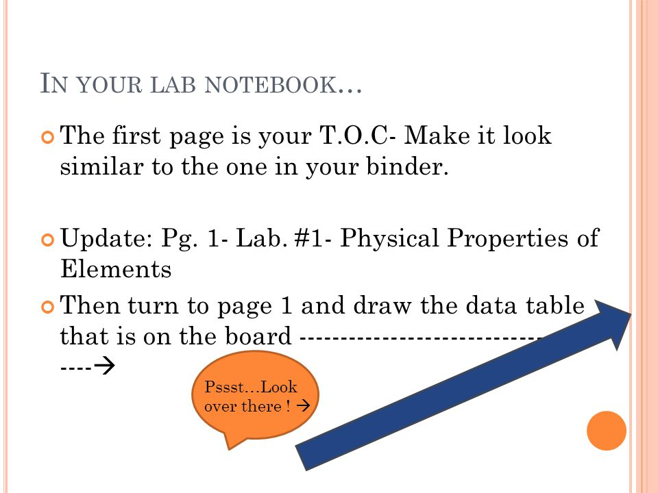 I N YOUR LAB NOTEBOOK … The first page is your T.O.C- Make it look similar to the one in your binder.