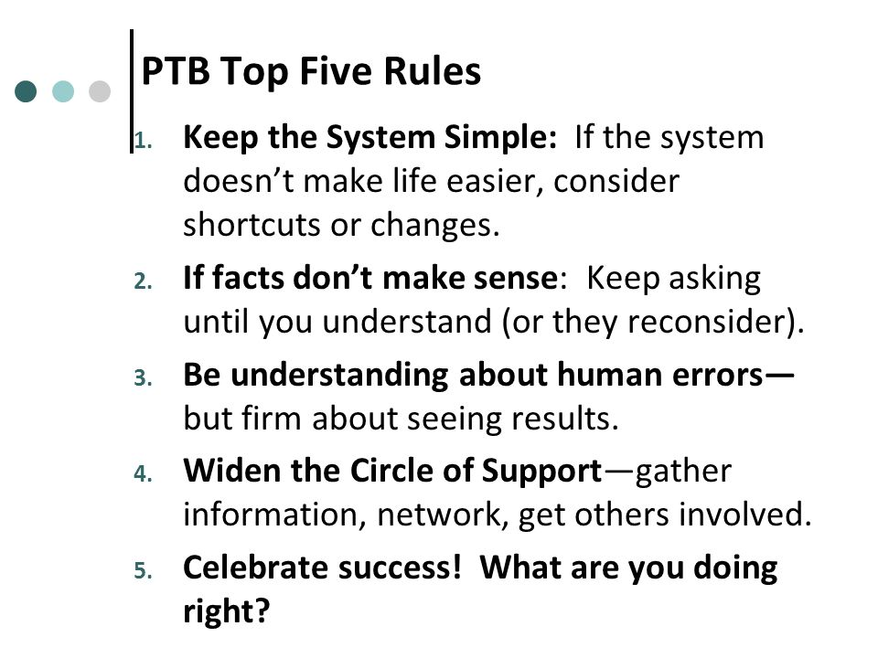 PTB Top Five Rules 1.