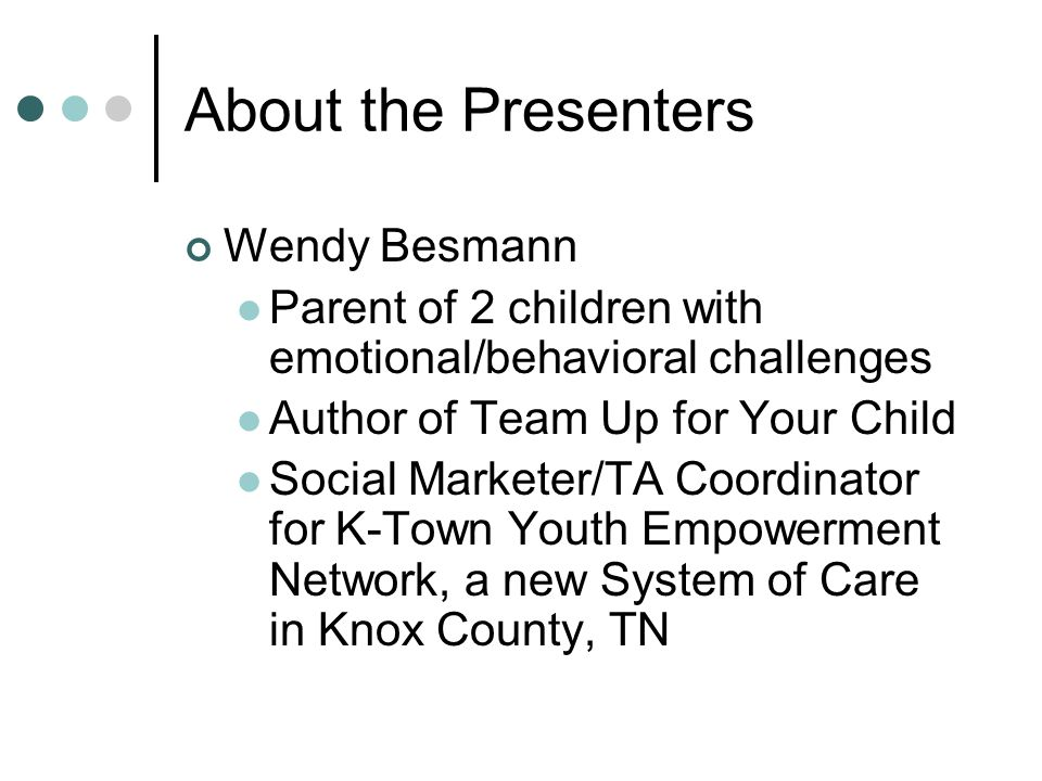 About the Presenters Millie Sweeney Assistant Director for Programs, Tennessee Voices for Children.