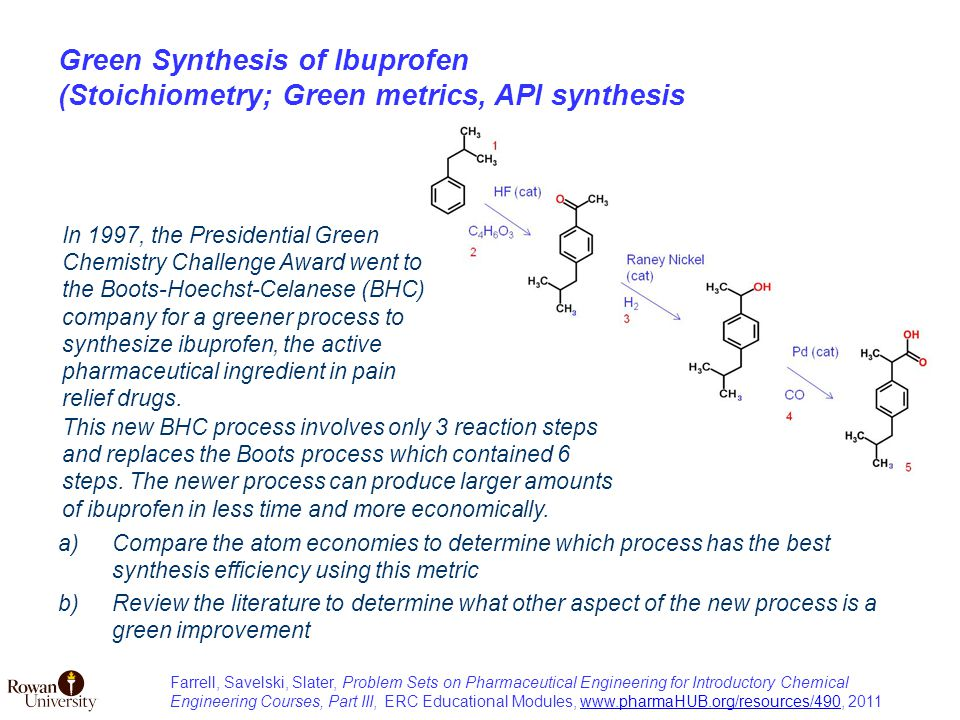 Green Synthesis of Ibuprofen (Stoichiometry; Green metrics, API synthesis a)Compare the atom economies to determine which process has the best synthesis efficiency using this metric b)Review the literature to determine what other aspect of the new process is a green improvement This new BHC process involves only 3 reaction steps and replaces the Boots process which contained 6 steps.