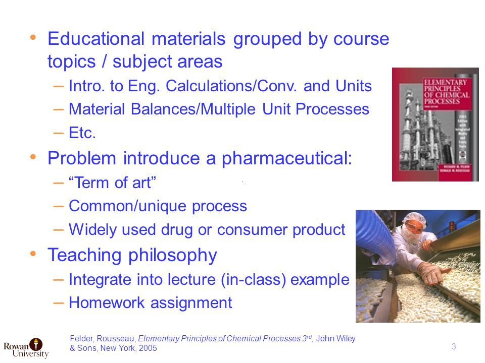 Educational materials grouped by course topics / subject areas – Intro.
