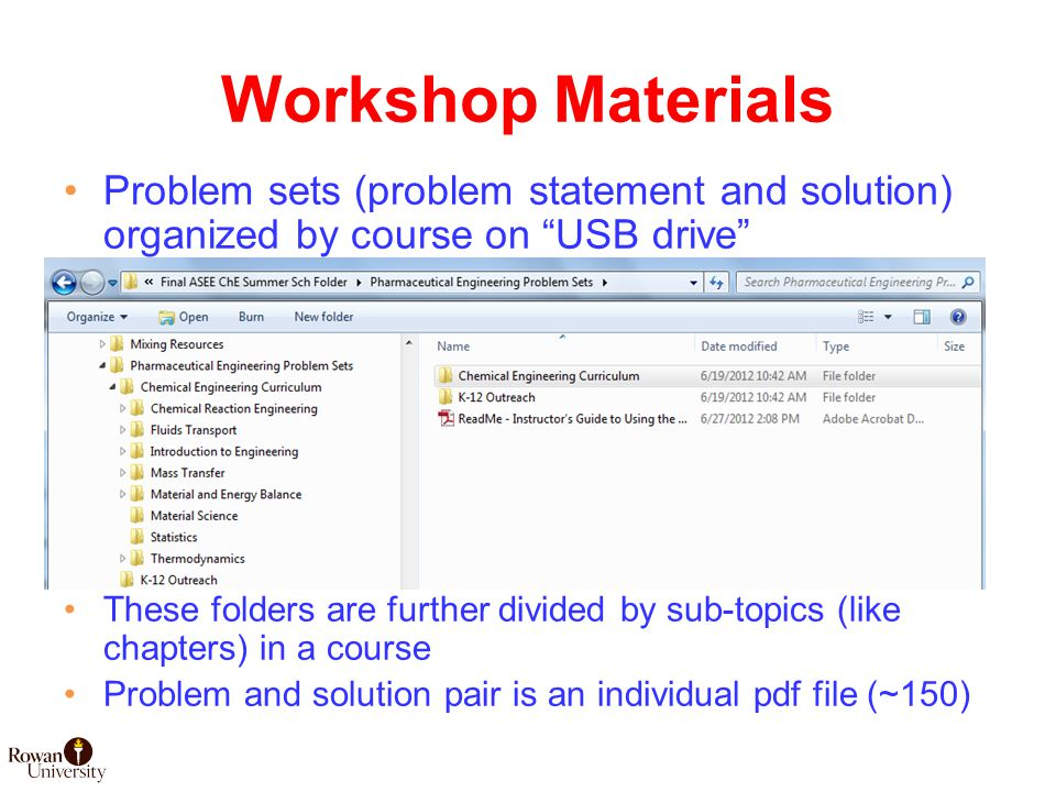 Workshop Materials Problem sets (problem statement and solution) organized by course on USB drive These folders are further divided by sub-topics (like chapters) in a course Problem and solution pair is an individual pdf file (~150)