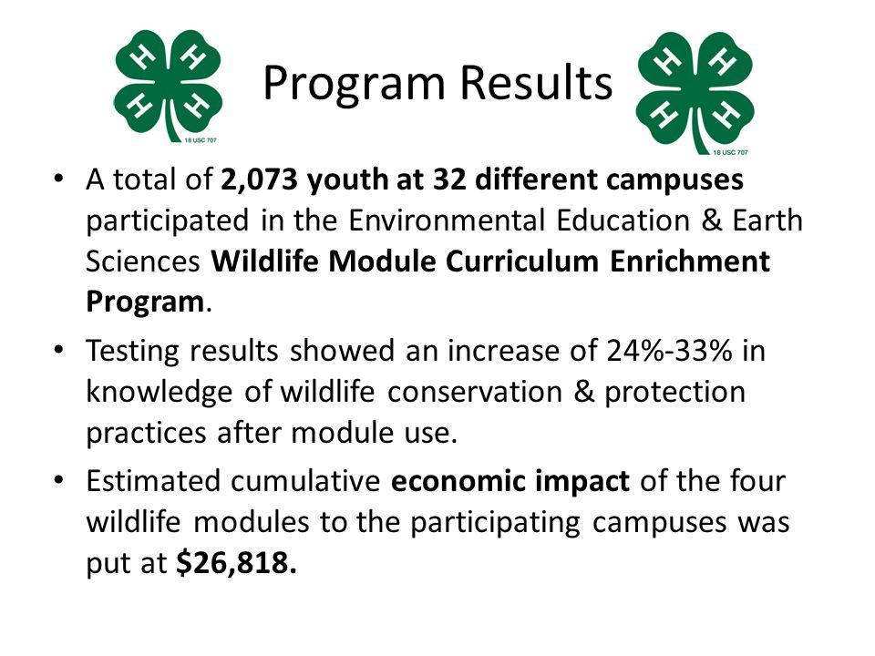 Program Results A total of 2,073 youth at 32 different campuses participated in the Environmental Education & Earth Sciences Wildlife Module Curriculum Enrichment Program.