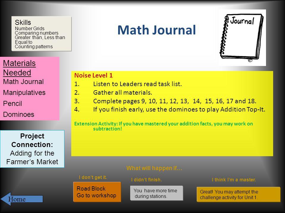 Math Journal Noise Level 1 1.Listen to Leaders read task list.