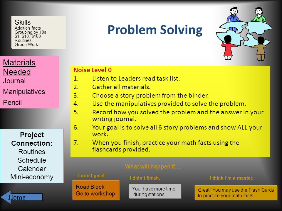 Problem Solving Noise Level 0 1.Listen to Leaders read task list.