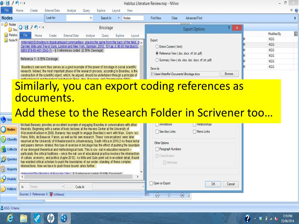Similarly, you can export coding references as documents. Add these to the Research Folder in Scrivener too…