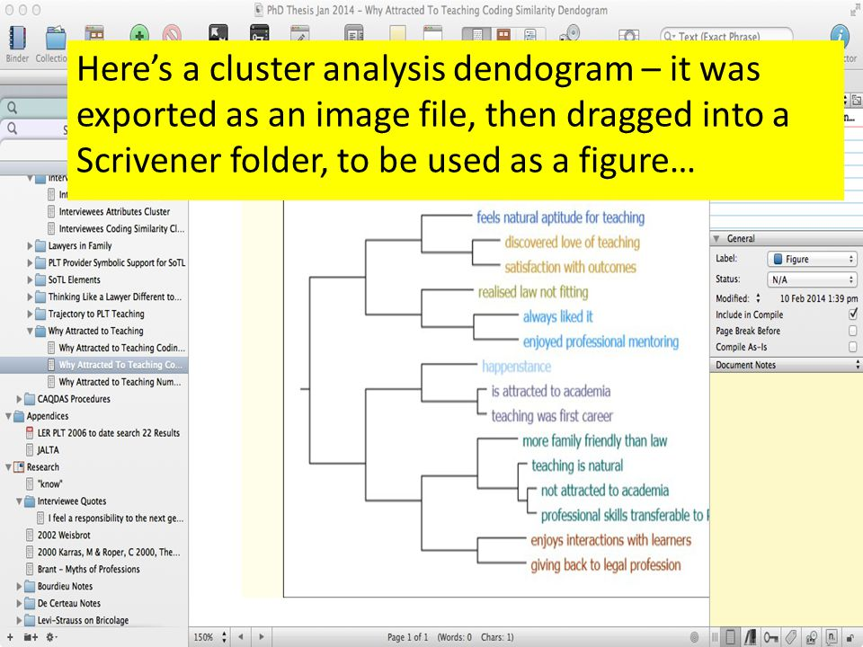 Here's a cluster analysis dendogram – it was exported as an image file, then dragged into a Scrivener folder, to be used as a figure…