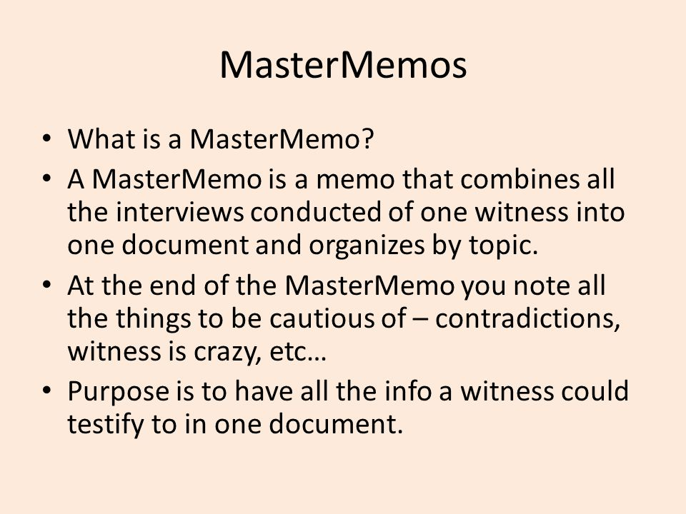 MasterMemos What is a MasterMemo.