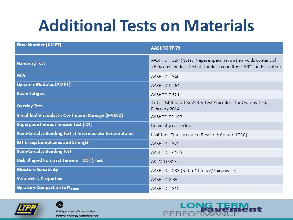 Additional Tests on Materials Flow Number (AMPT) AASHTO TP 79 Hamburg Test AASHTO T 324 (Note: Prepare specimens at air voids content of 7±1% and cond