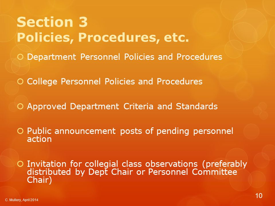 Section 3 Policies, Procedures, etc.