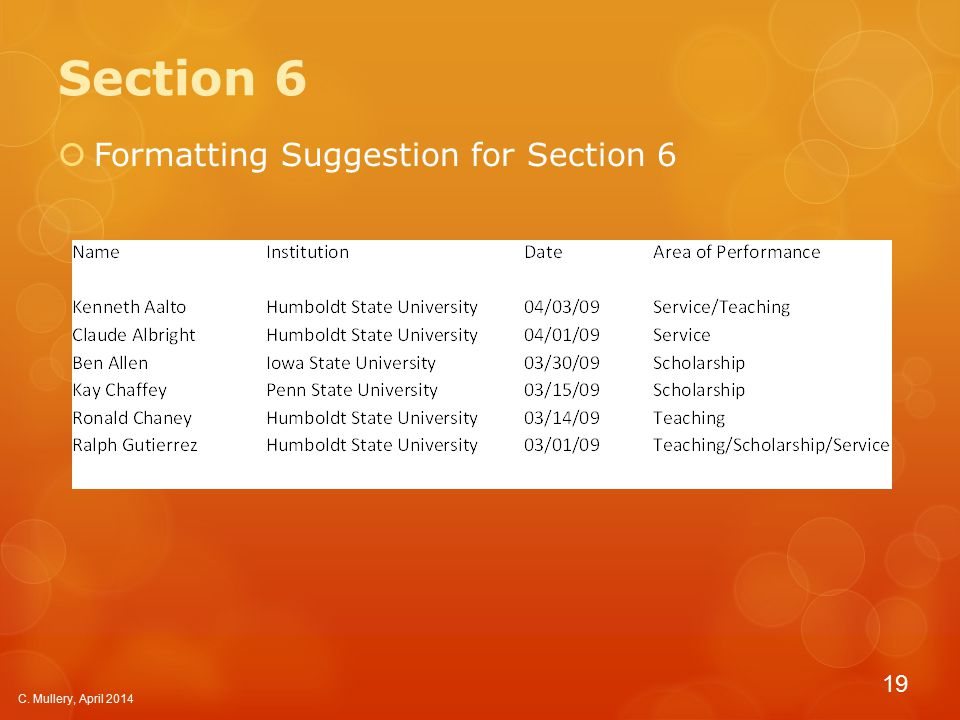 Section 6  Formatting Suggestion for Section 6 C. Mullery, April 2014 19