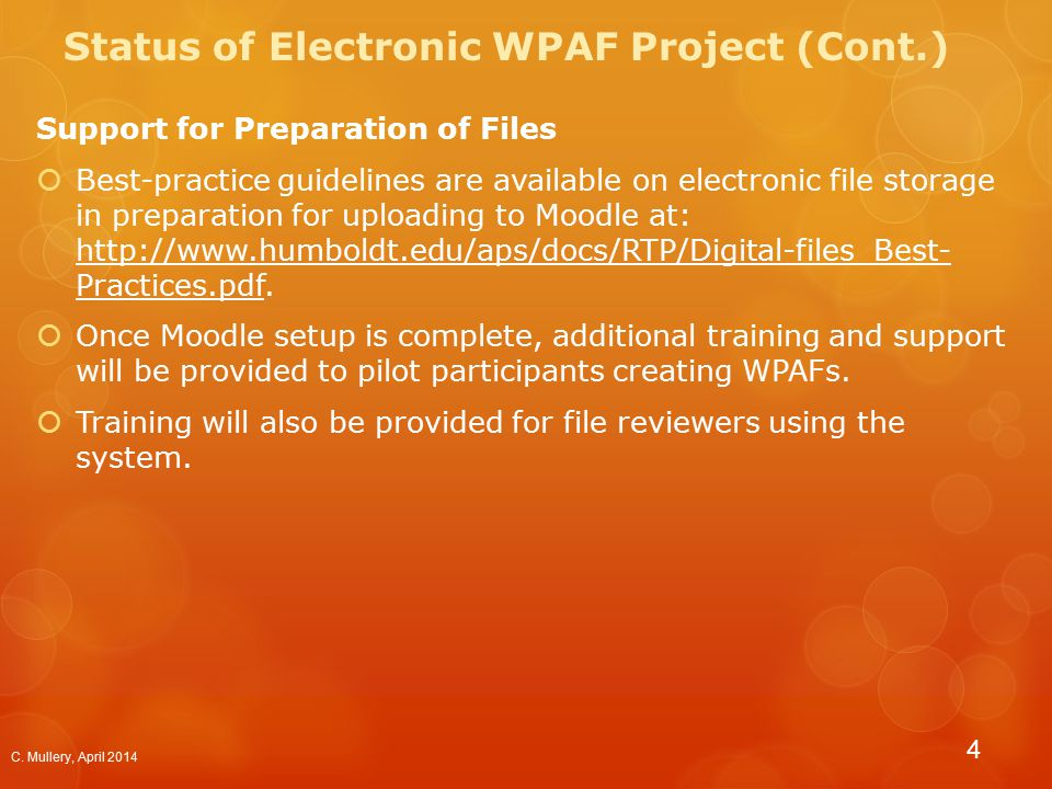 WPAF Sections  Section 1 - Index of materials submitted for evaluation.