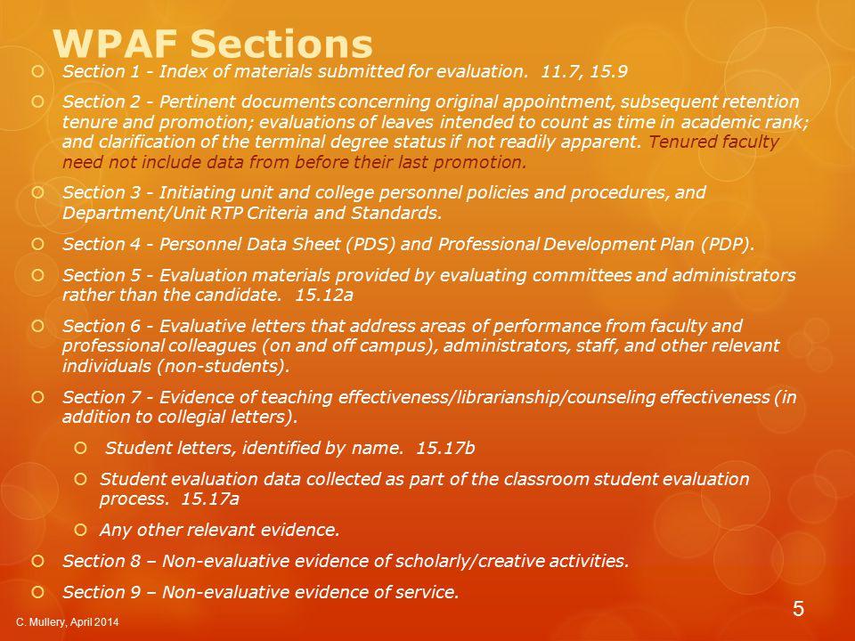 Index  WPAF Index  Index to Supplementary Binder C. Mullery, April 2014 6