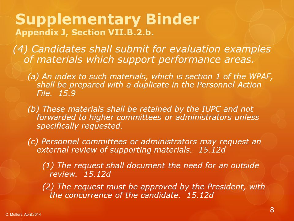 Supplementary Binder Appendix J, Section VII.B.2.b.