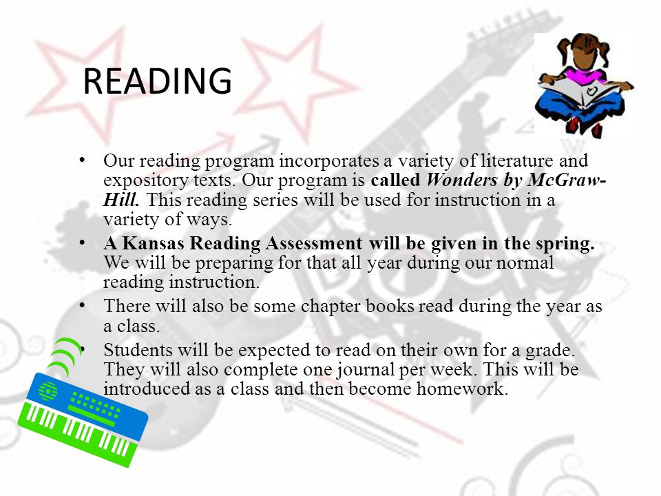 READING Our reading program incorporates a variety of literature and expository texts. Our program is called Wonders by McGraw- Hill. This reading ser