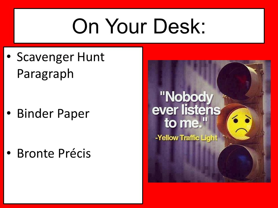 On Your Desk: Scavenger Hunt Paragraph Binder Paper Bronte Précis