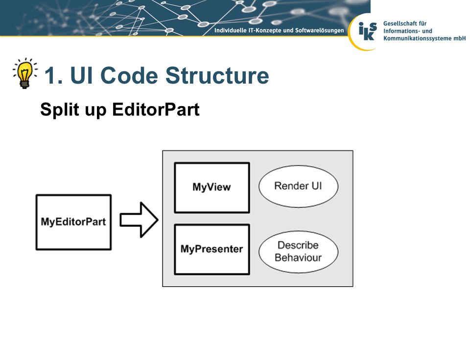 1. UI Code Structure Split up EditorPart