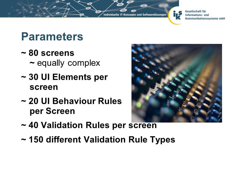 Parameters ~ 80 screens ~ equally complex ~ 30 UI Elements per screen ~ 20 UI Behaviour Rules per Screen ~ 40 Validation Rules per screen ~ 150 different Validation Rule Types