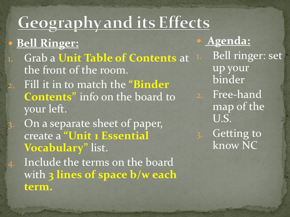 Bell Ringer: 1. Grab a Unit Table of Contents at the front of the room.