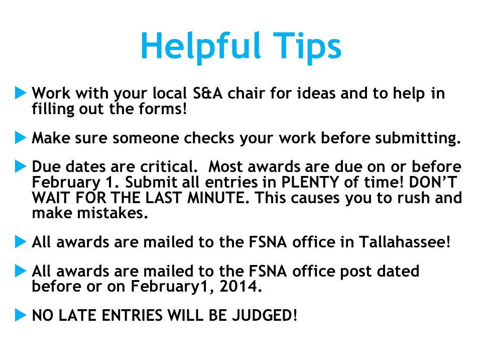 Awards Checklist 1.Read rules and criteria for award.