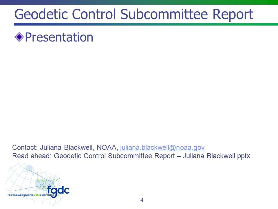 Metadata Subcommittee Report Presentation 5 Contact: Jennifer Carlino, FGDC OS, jcarlino@usgs.govjcarlino@usgs.gov Read ahead: Metadata Work Group Report – Jen Carlino.pptx