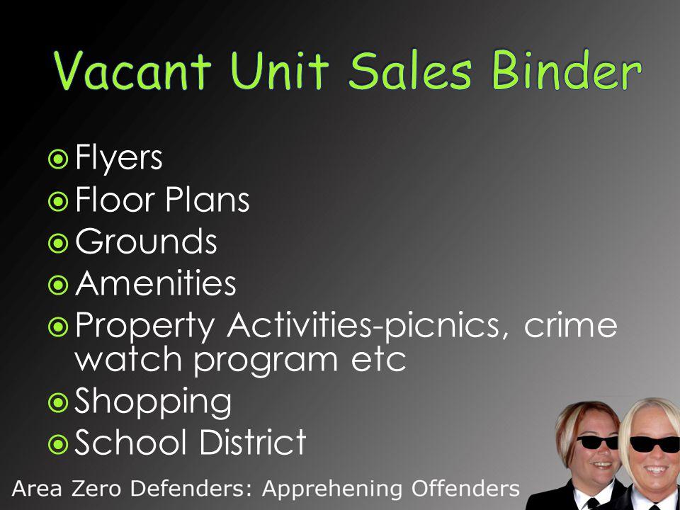  Flyers  Floor Plans  Grounds  Amenities  Property Activities-picnics, crime watch program etc  Shopping  School District