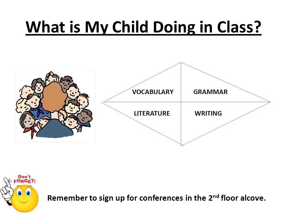 What is My Child Doing in Class. Remember to sign up for conferences in the 2 nd floor alcove.