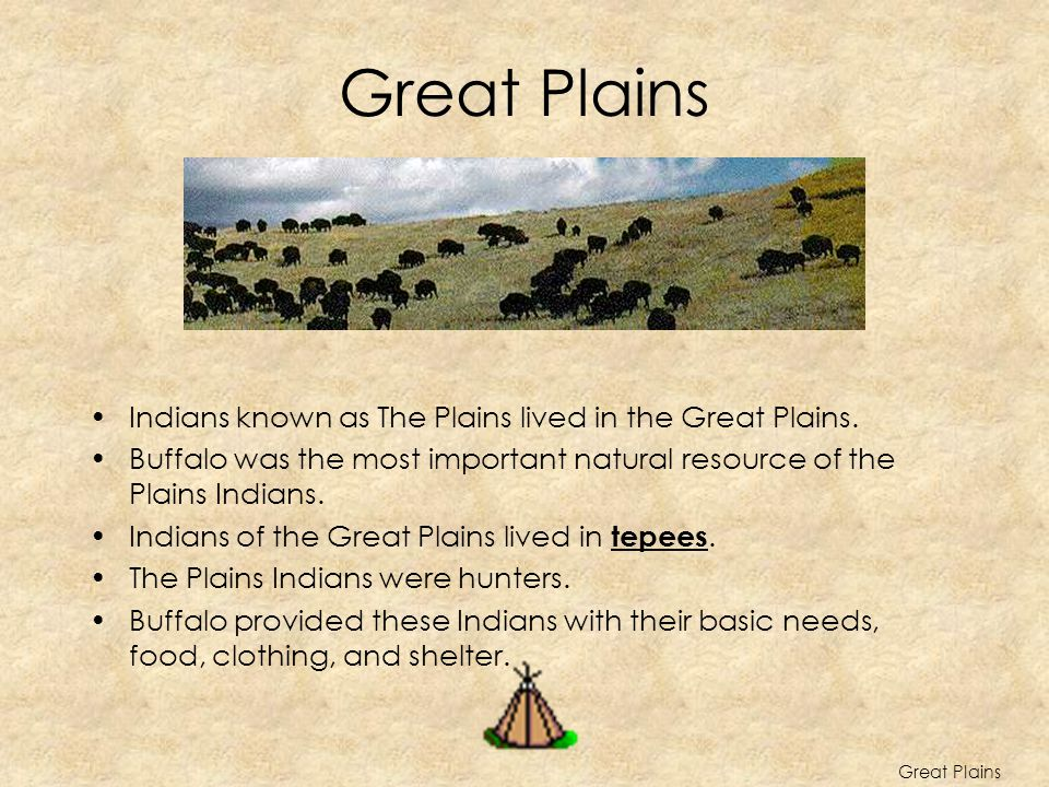 Great Plains Indians known as The Plains lived in the Great Plains. Buffalo was the most important natural resource of the Plains Indians. Indians of