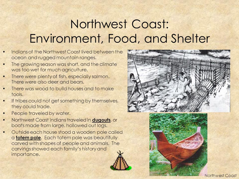 Northwest Coast: Environment, Food, and Shelter Indians of the Northwest Coast lived between the ocean and rugged mountain ranges. The growing season